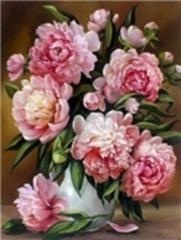 Картина раскраска по номерам 40x50 Розовые пионы с зеленью в вазе