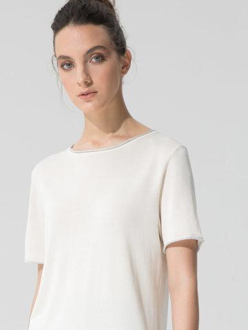 Женский шелковый джемпер молочного цвета с укороченным рукавом - фото 3