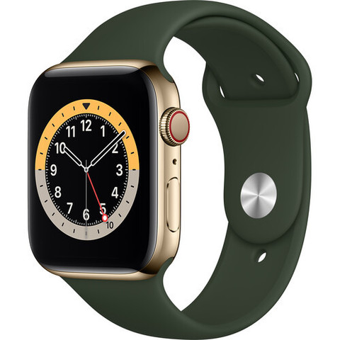 Часы Apple Watch Series 6 GPS + Cellular 40mm Stainless Steel Case with Sport Band (Gold, Cyprus Green) (M02W3,M06V3)