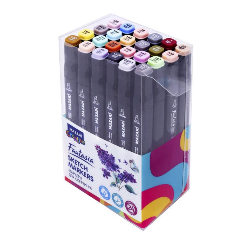 Mazari Fantasia набор маркеров для скетчинга 24 шт двусторонние спиртовые пуля/долото 3.0-6.2 мм (серые + пастельные)