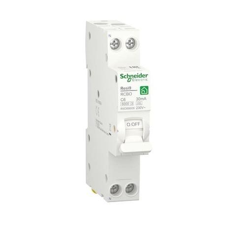 Автоматический дифференциальный выключатель (ДИФ) 1P+N - 6 А тип A 1 модуль 230 В~. Schneider Electric Resi9. R9D88606