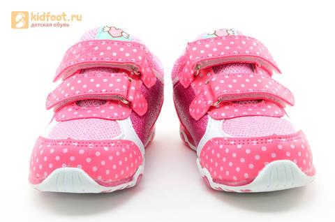 Светящиеся кроссовки для девочек Хелло Китти (Hello Kitty) на липучках, цвет розовый, мигает картинка сбоку. Изображение 5 из 15.