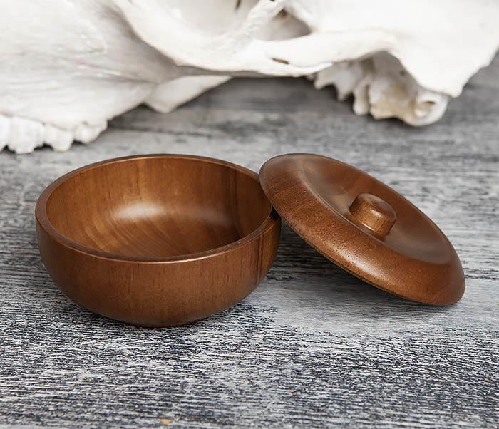 RAZ342 Деревянная чаша для бритья с крышкой