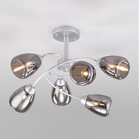 Потолочная люстра со стеклянными плафонами 30168/6 матовое серебро