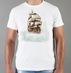 Футболка с принтом Корабль (Море, Океан, волны) белая 001