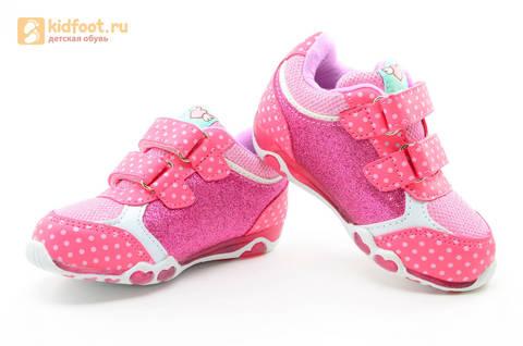 Светящиеся кроссовки для девочек Хелло Китти (Hello Kitty) на липучках, цвет розовый, мигает картинка сбоку. Изображение 8 из 15.