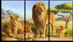 """Модульная картина """"Семейство львов"""""""
