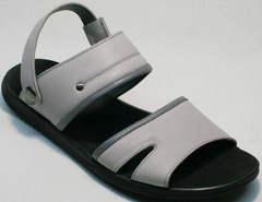 Модные мужские шлепки сандали из кожи Ikoc 3294-3 Gray.