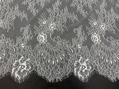 Кружевное полотно шантильи белое (1,5х3м)