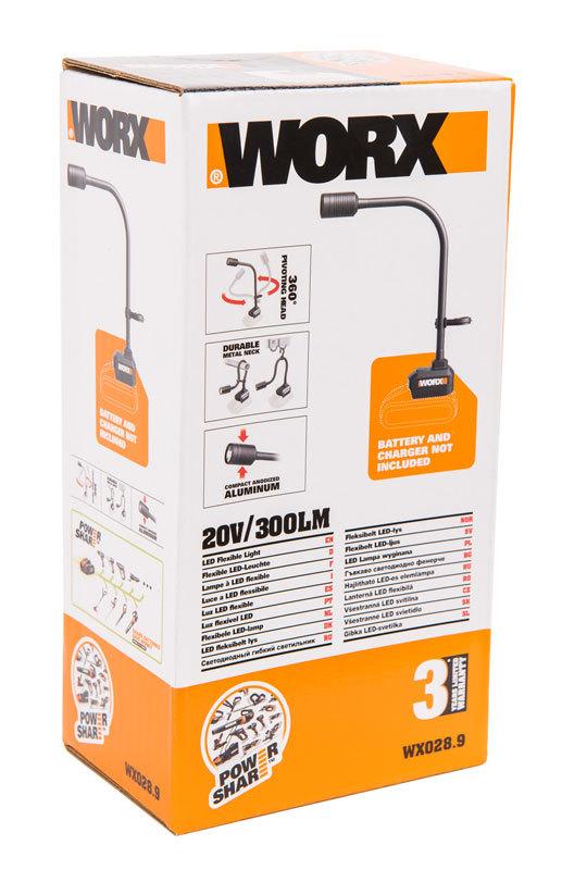 Фонарь аккумуляторный WORX WX028.9, 20В, без АКБ и ЗУ