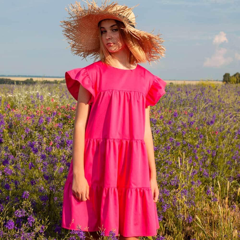 Детское, подростковое летнее платье для девочки в малиновом цвете.