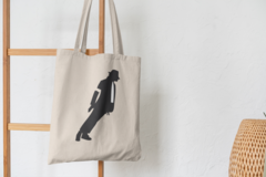Сумка-шоппер с принтом Майкл Джексон (Michael Jackson) бежевая 008
