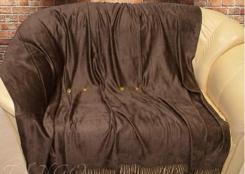 Бамбуковый плед с кистями 150x200 шоколадный
