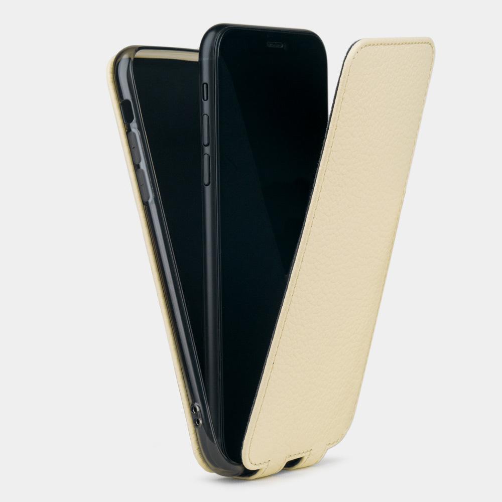 Чехол для iPhone XR из натуральной кожи теленка, молочного цвета