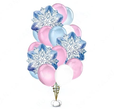 Букет воздушных шаров Нежный розово-голубой со снежинками