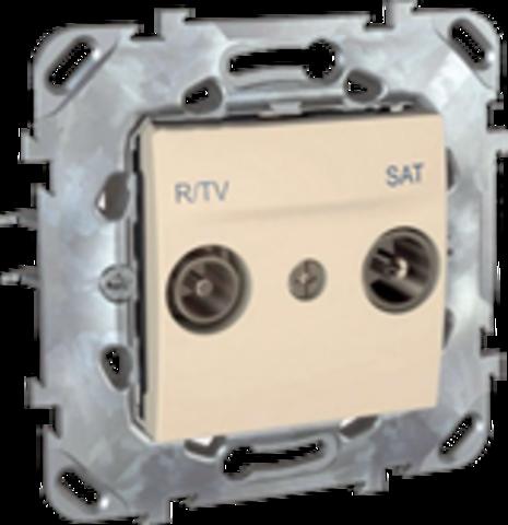 Розетка R-TV/SAT одиночная. Цвет Бежевый. Schneider electric Unica. MGU5.454.25ZD
