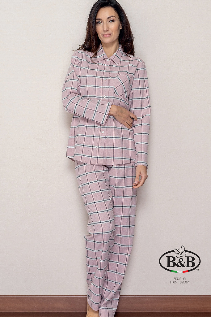 Клетчатая женская пижама из фланели B&B