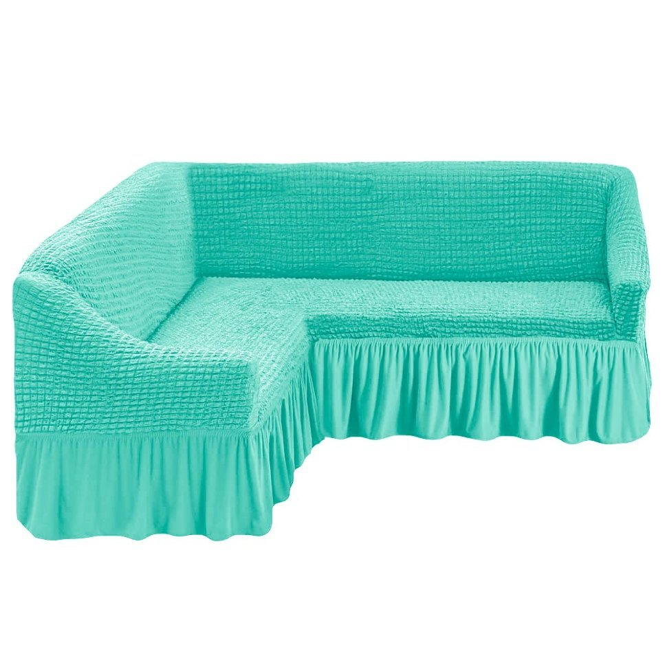 Чехол на угловой диван, бирюзовый