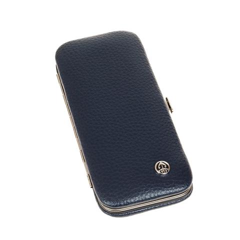 Маникюрный набор GD, 5 предметов, цвет синий, кожаный футляр