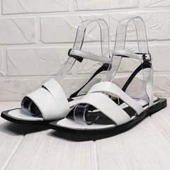 Кожаные босоножки сандалии женские Brocoli H1886-9165-S873 White.