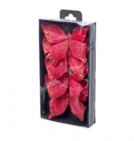 Набор бабочек с глиттером на прищепках 4шт., 10см, цвет: красный