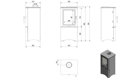 Печь-камин Kratki KOZA/K5/S/W/D (7 кВт) Под заказ