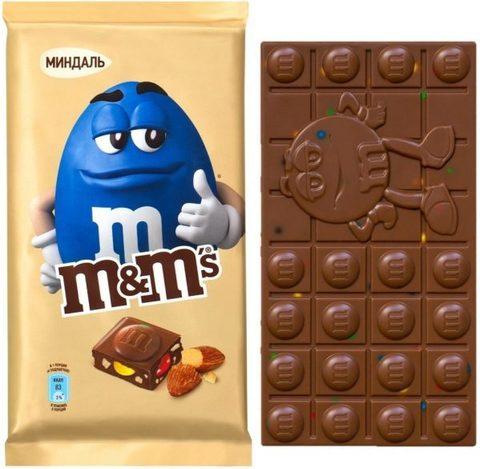 """Шоколад  """"M&M's"""" молочный с миндалем и разноцветным драже 122г"""