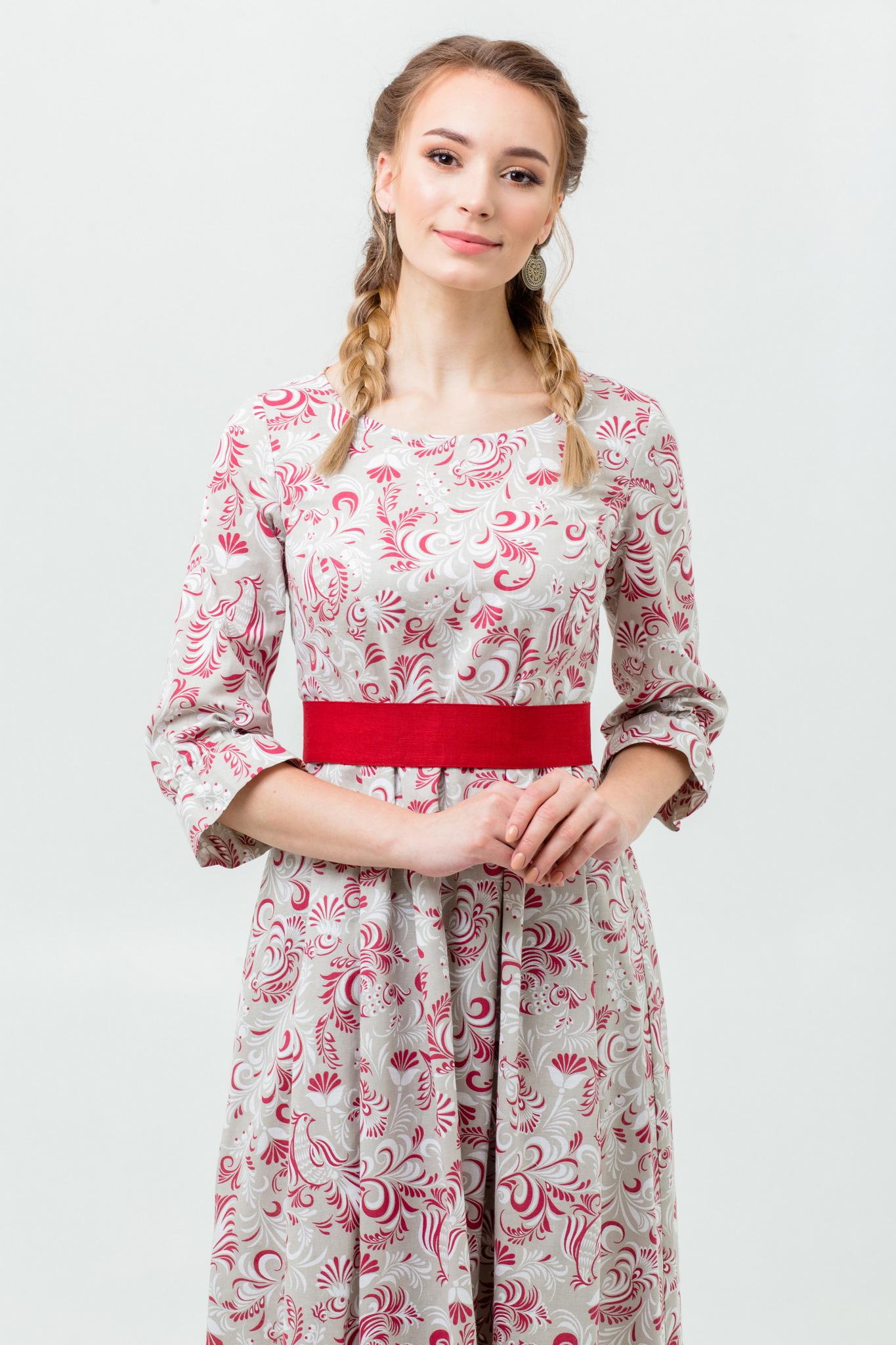 Традиционное платье славянское Красные петухи