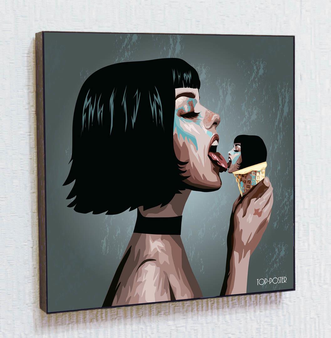 Девушка с мороженым Картина ПОП-АРТ портрет постер