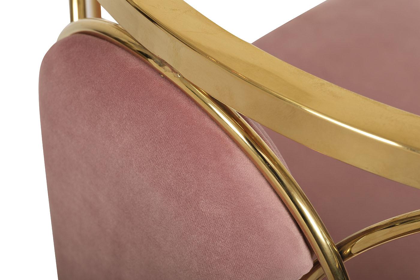 Стул GY-DC8352GOLD-PK золото/велюр розовый 56,5*55*75см