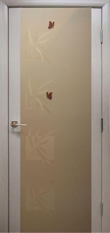 Дверь Модерн (стекло бабочки) (беленый дуб, остекленная шпонированная), фабрика LiGa