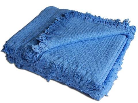 Плед вязаный хлопковый  Design  голубой 1237  Buddemeyer Бразилия
