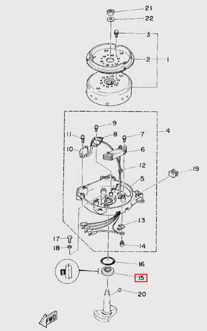 Сальник верхний колен.вала для лодочного мотора T5 Sea-PRO (5-15)