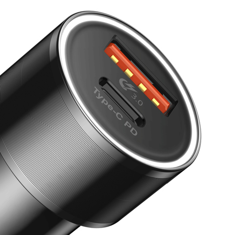 Автомобильное зарядное устройство Baseus Small Screw Type-C PD+USB Quick Charge Car Charger 36W Black
