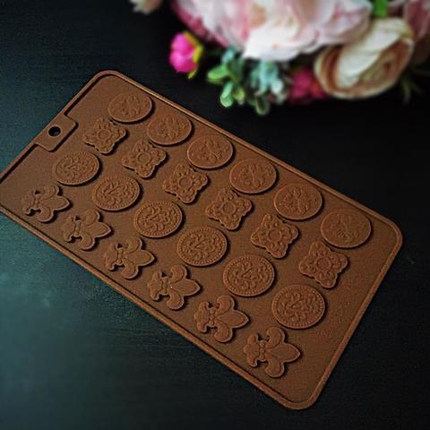 Силиконовая форма для шоколада ПЛОСКИЕ Мини УЗОРЫ (20х25мм)