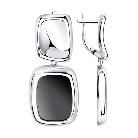 83020140 - Серьги из серебра с черными агатами
