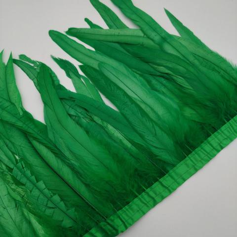 Тесьма  из перьев петуха h 25-30 см, зеленый