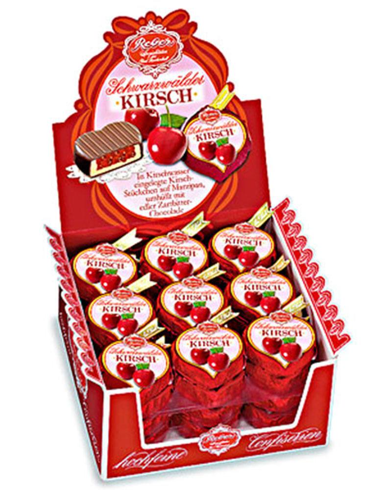 Шоколадные конфеты Reber из темного шоколада с начинкой из вишневого марципана и вишни в бренди, 31 гр.