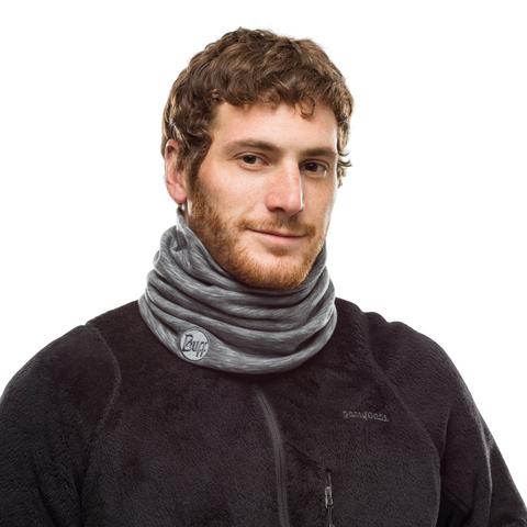 Теплый шерстяной шарф-труба Buff Wool heavyweight Fog Grey Multi Stripes фото 2