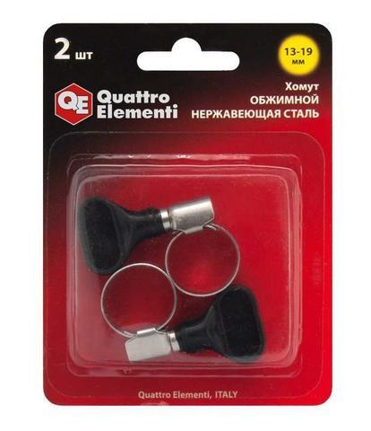 Хомут обжимной QUATTRO ELEMENTI  13-19 мм, нержавеющая сталь, с ключом, 2 шт в блистере