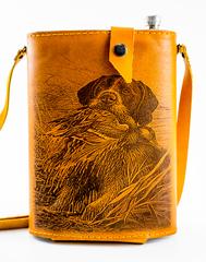 Фляга «Охота», натуральная кожа с художественным выжиганием, 2 л, фото 1