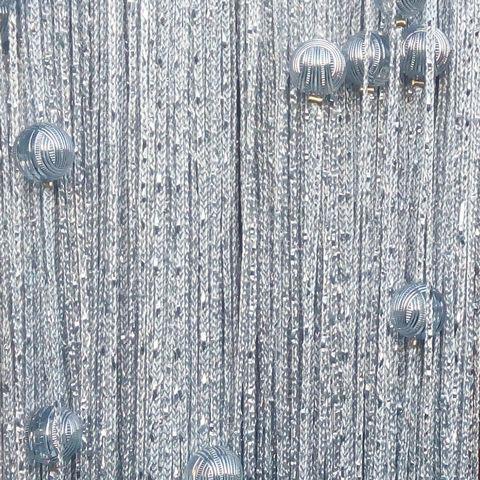 Кисея дождь с шарами - Серая. Ш-300см., В-280см. Арт.7
