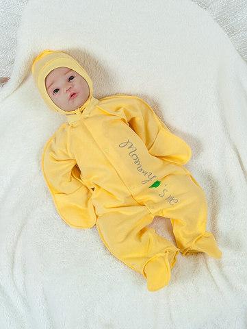 Комбинезон для новорожденных  Love me с чепчиком (желтый)