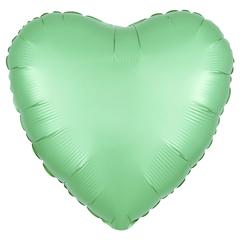 Шар сердце сатин мятный