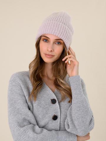 Женская шапка светло-розового цвета из мохера - фото 4