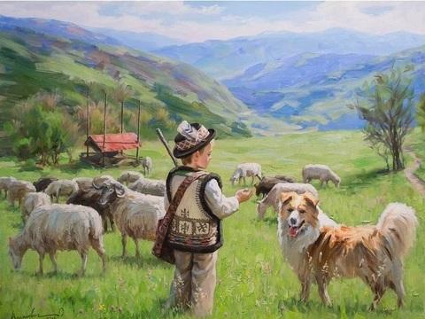 Картина раскраска по номерам 40x50 Маленький пастух