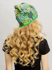 Женская летняя шапочка бини с принтом Котики (зеленые)