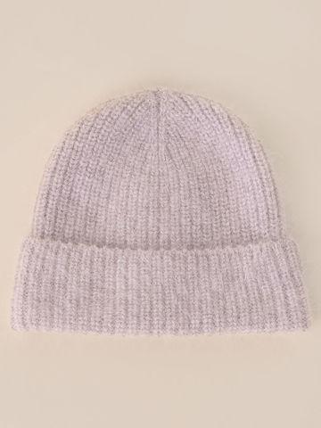 Женская шапка светло-розового цвета из мохера - фото 2