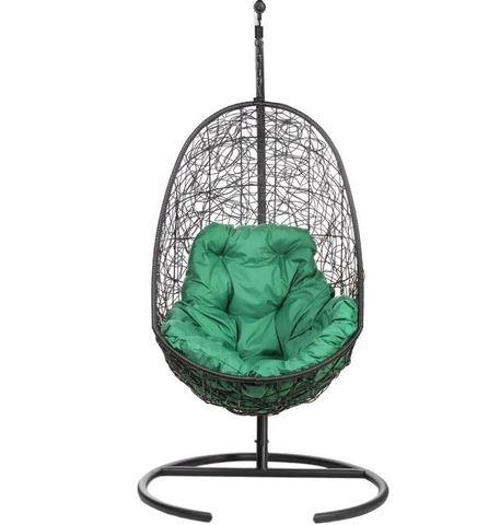 Кресло подвесное Ewerton Black зеленая подушка