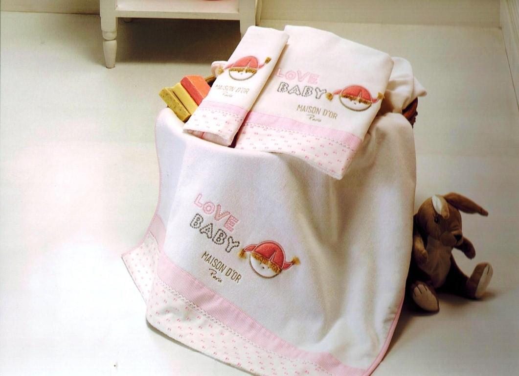 Полотенца детские Набор полотенец для девочки  из 3х предметов  LOVE BABY- ЛАВ БЭБИ /  Maison Dor (Турция) Love_Baby.jpeg
